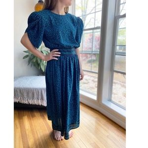 Vintage 80's Puffed Sleeve Abstract Print Dress